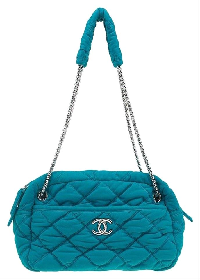 4fe44e82cafb Chanel Chain Jersey Turquoise Quilted Bubble Snake Effect Blue Satin  Shoulder Bag