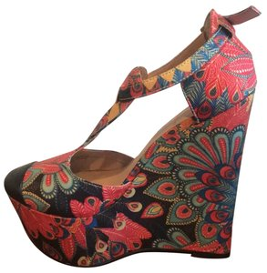Penny Loves Kenny Paisley Asian Vintage Goldthread Datenight Red Platforms