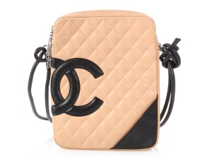 Chanel Ch.q0111.08 Quilted Cc Silver Hardware Medium Beige Messenger Bag