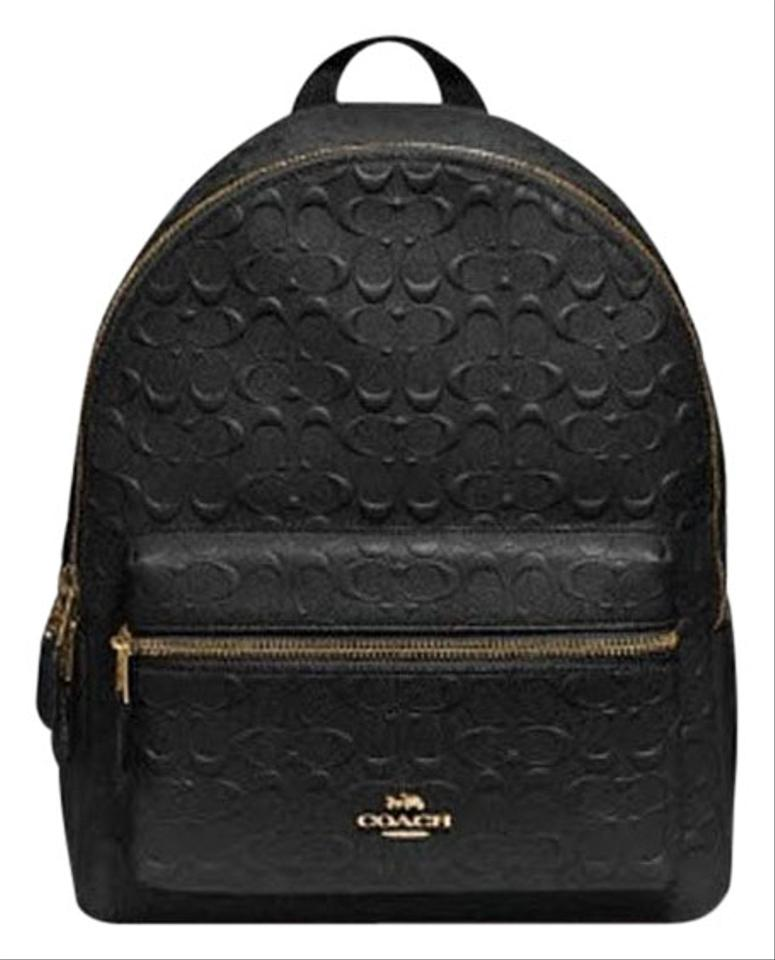 Coach Medium Charlie Debossed In Pebble Black Leather Backpack - Tradesy 47e1a99decbe5