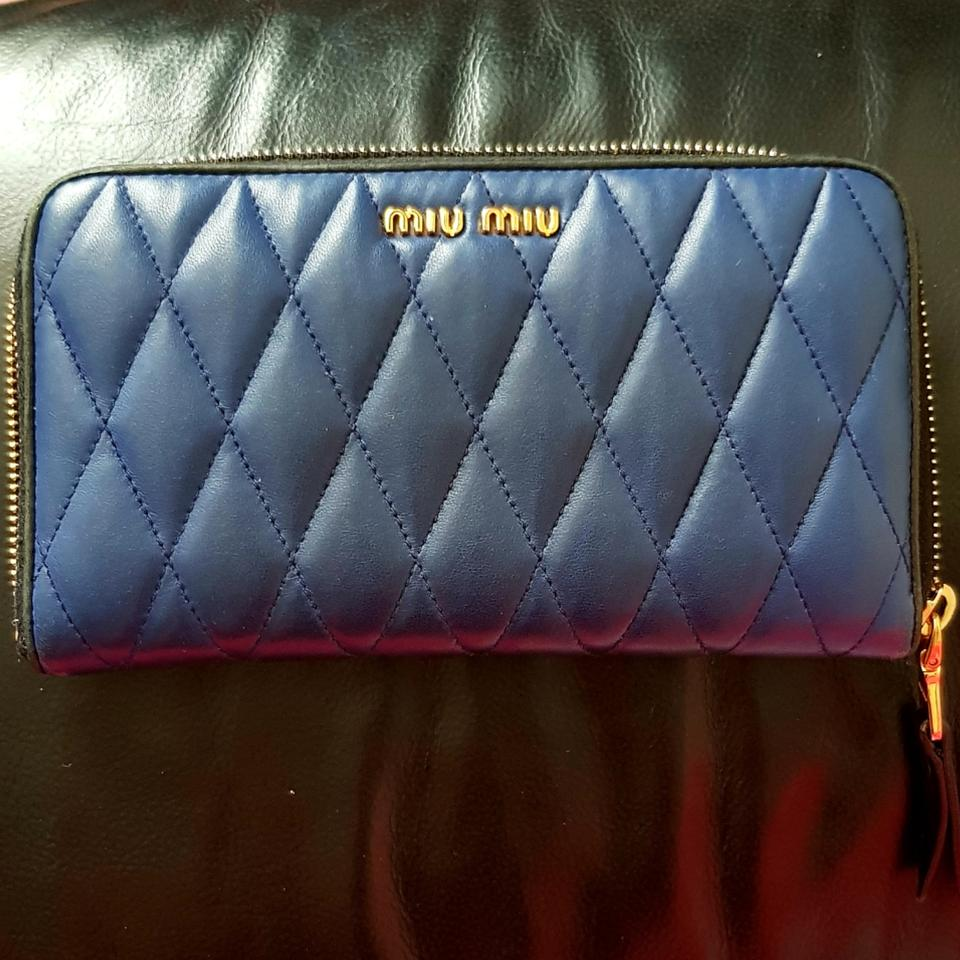 212d1e0dd49 Miu Miu Blue Quilted Leather Wallet - Tradesy