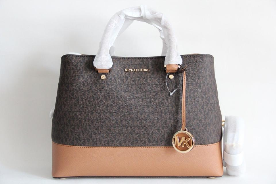 9c8f8ee33dae Michael Kors Savannah Signature Satchel in Brown Image 11. 123456789101112