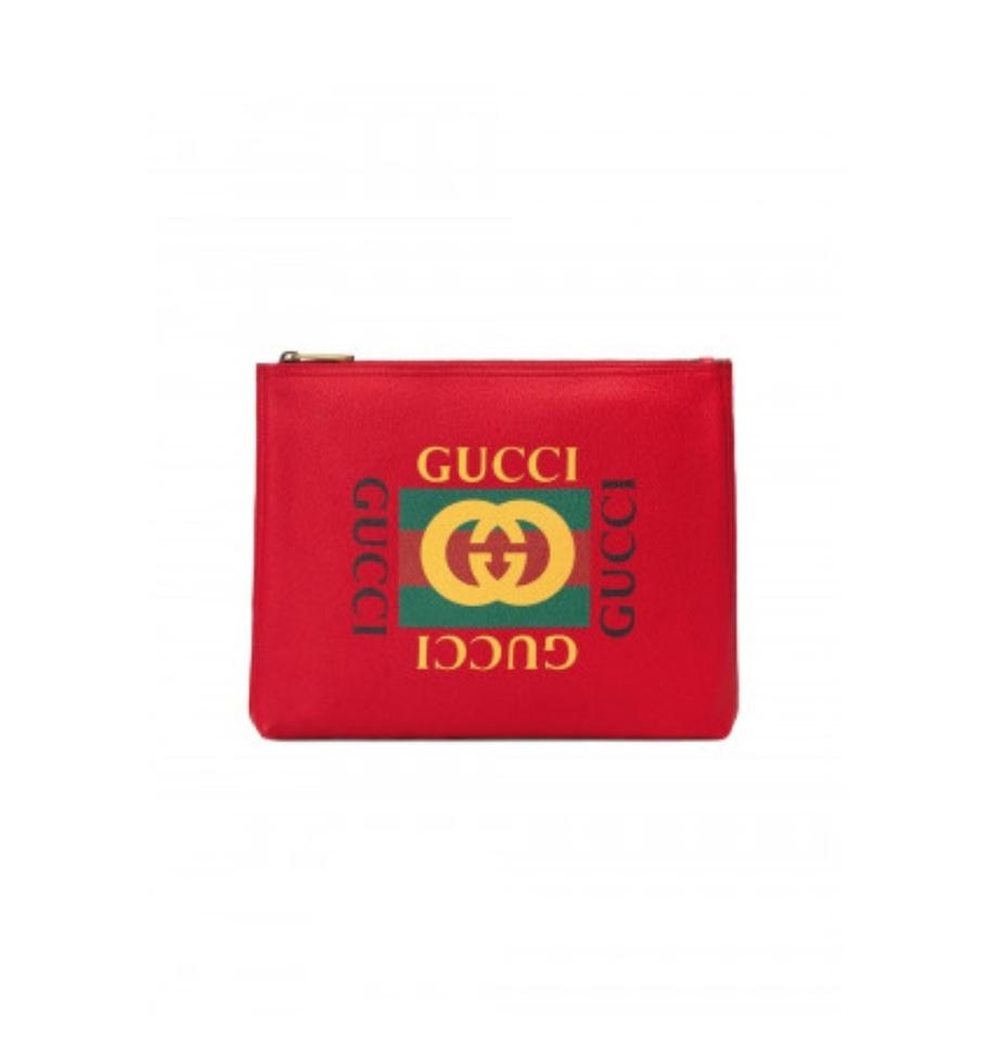 127eb8d1e53 Gucci Marmont New Print Medium Portfolio Red Leather Clutch - Tradesy