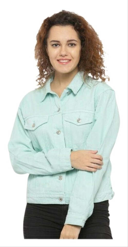 c8a30e82a93 Forever 21 Cotton Machine Washable Jean Mint Green Womens Jean Jacket Image  0 ...