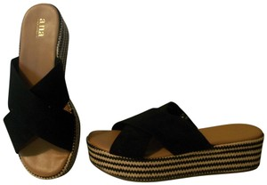 a.n.a. a new approach Wedge Size 9 Ballerina Black / Multicolor Sandals