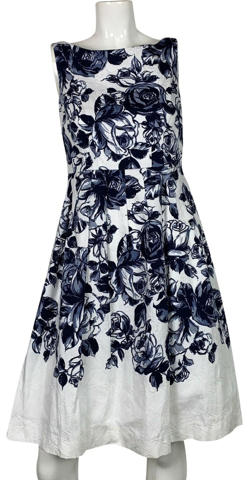 75093f215f4 Talbots White Navy Blue Floral Sleeveless Fit Flare New Short Casual Dress.  Size  2 ...