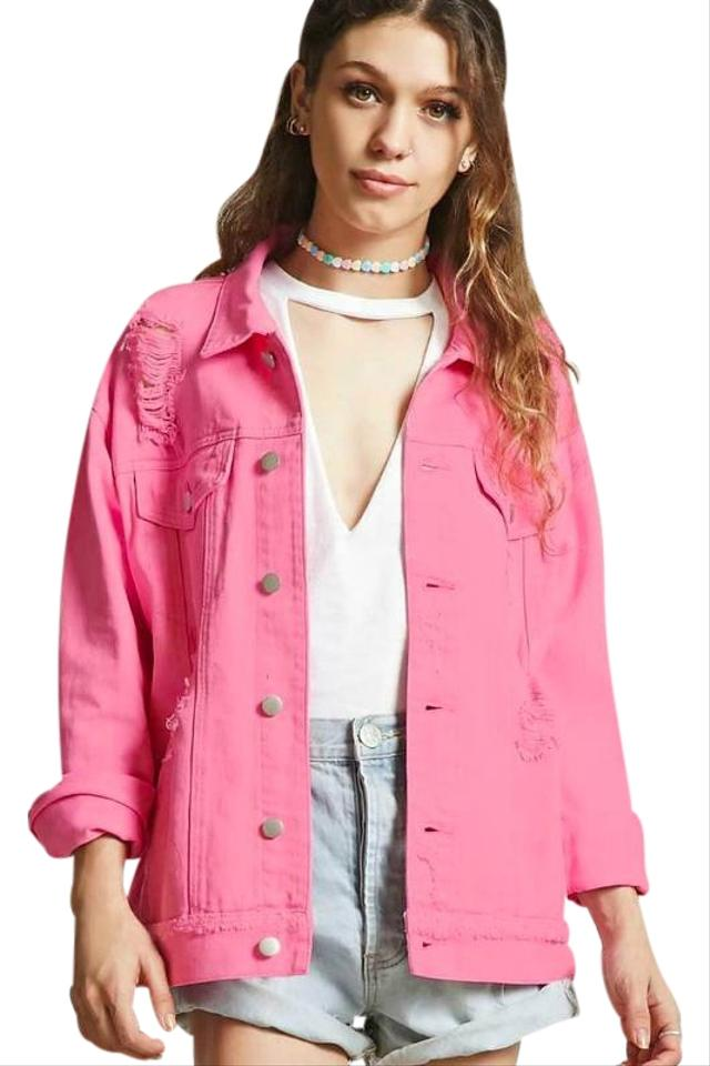 timeless design eba09 593bf Forever 21 Cotton Machine Washable Jean Pink Womens Jean Jacket Image 0 ...
