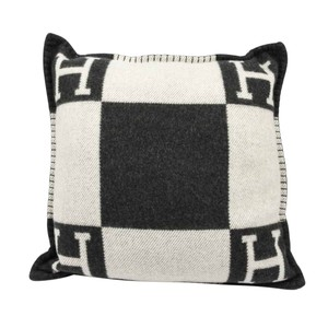 Hermès Hermes Cushion Avalon I PM Signature H Ecru and Gris Fonce Throw Pillo