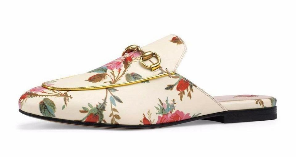 d9c97fa46 Gucci Ivory Princetown Floral Print Pink Gg Slide Loafer Mule Slipper  Flats. Size  EU 39 ...