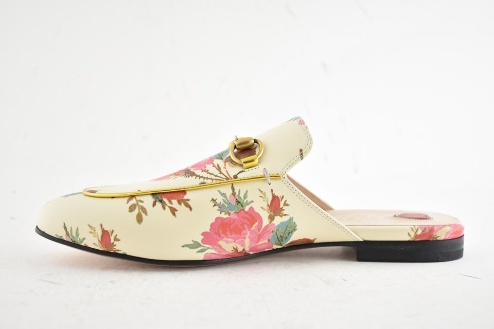 2357d13a5d9f Gucci Ivory Princetown Floral Print Pink Gg Slide Loafer Mule Slipper Flats  Size EU 39.5 (Approx. US 9.5) Regular (M