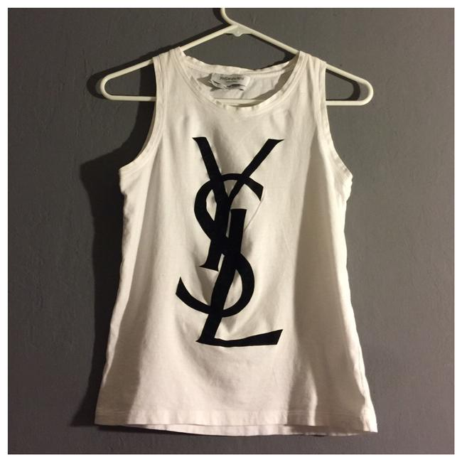 Preload https://img-static.tradesy.com/item/24939930/saint-laurent-yves-black-and-white-velvet-ysl-logo-women-tank-tee-shirt-size-4-s-0-0-650-650.jpg