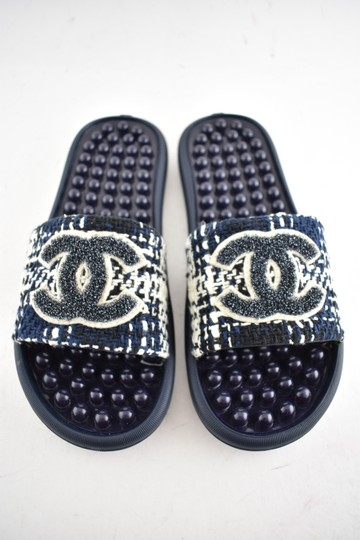 Chanel Chain Slides Flat Slide Blue Sandals