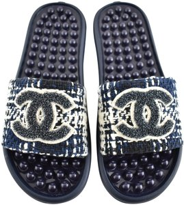 Chanel Tweed Rubber Blue Sandals