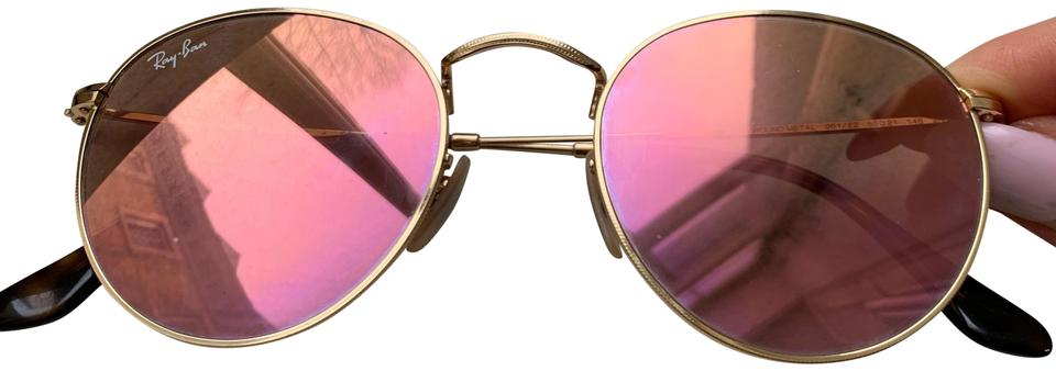 3d55de1ea457 Ray-Ban Rose Gold Round Flash Sunglasses - Tradesy