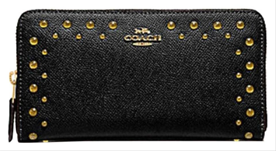 9d7fdd016 Coach Black Zip Around Boarder Stud Lacquer Rivets F55610 Accordion Wallet