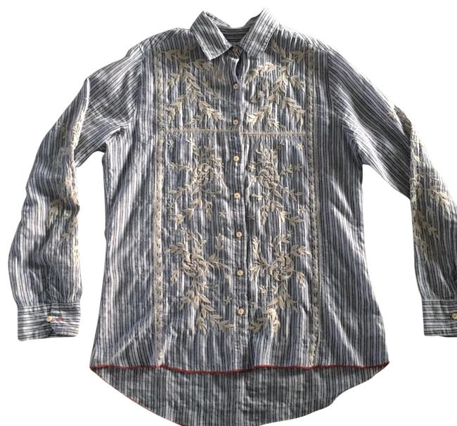 Item - Blue and Cream 3j Workshop Embroidered Shirt Button-down Top Size 4 (S)