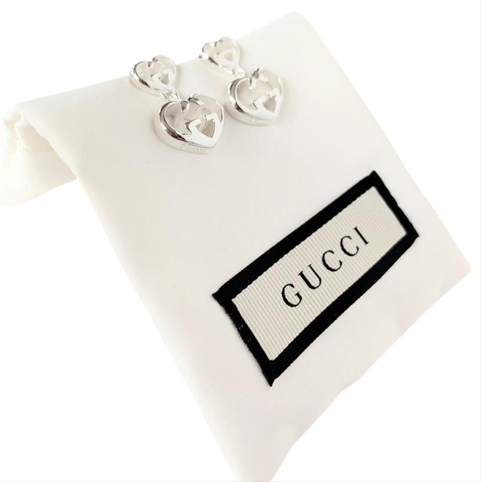 5e2d8aa4066 Gucci Sterling Silver Britt Double G Heart Drop Earrings - Tradesy