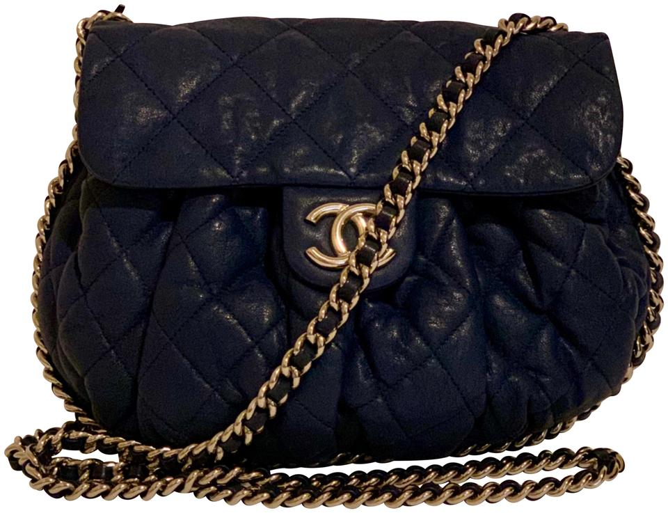 94678737c8df2e Chanel Classic Flap Chain Around with Card and Dustbag Blue Leather ...