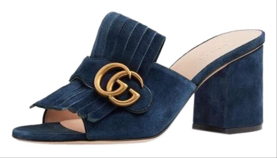 fba45945b79954 Gucci Marmont Gg Suede Fringe Slide Sandals Size EU 38.5 (Approx. US ...