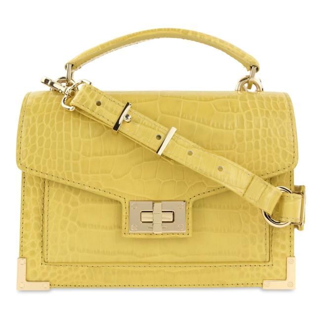 Item - Emily Croc-embossed Maxi Yellow Leather Cross Body Bag