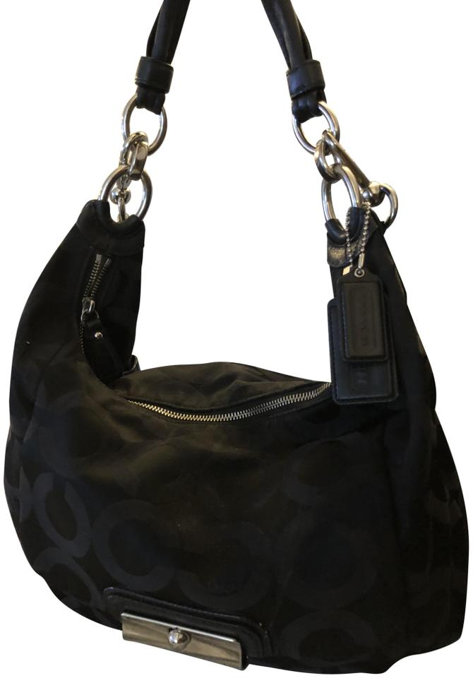 Coach Monogram Double Strap Black Cloth and Leather Shoulder Bag ... 8b90cf233afb1