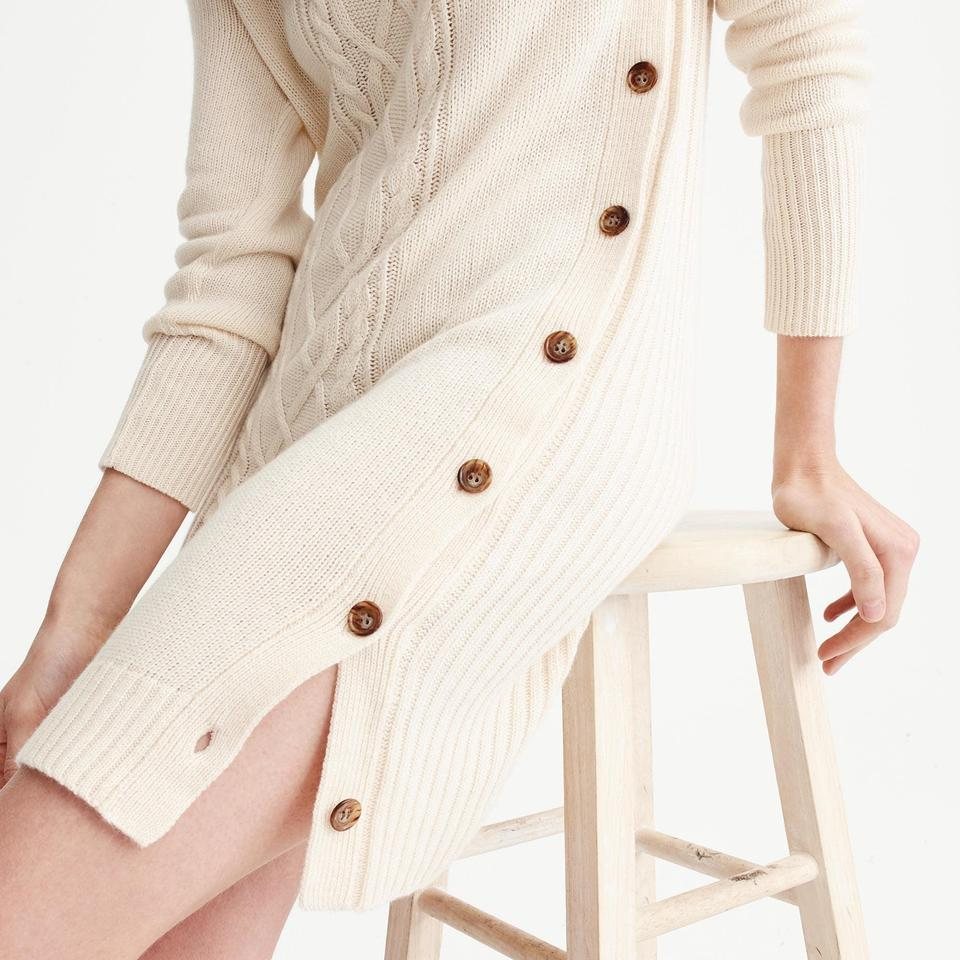 3c84f79323cc7 J.Crew Beige Cable-knit Turtleneck Sweater-dress Short Work Office ...