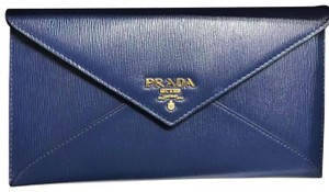 50264e7062 Prada Wallet Envelope Calfskin Textured Blue Clutch