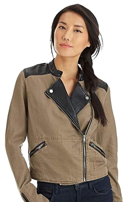 Item - Distressed Taupe/Black Cotton/Linen/Faux Leather Jacket Size 6 (S)