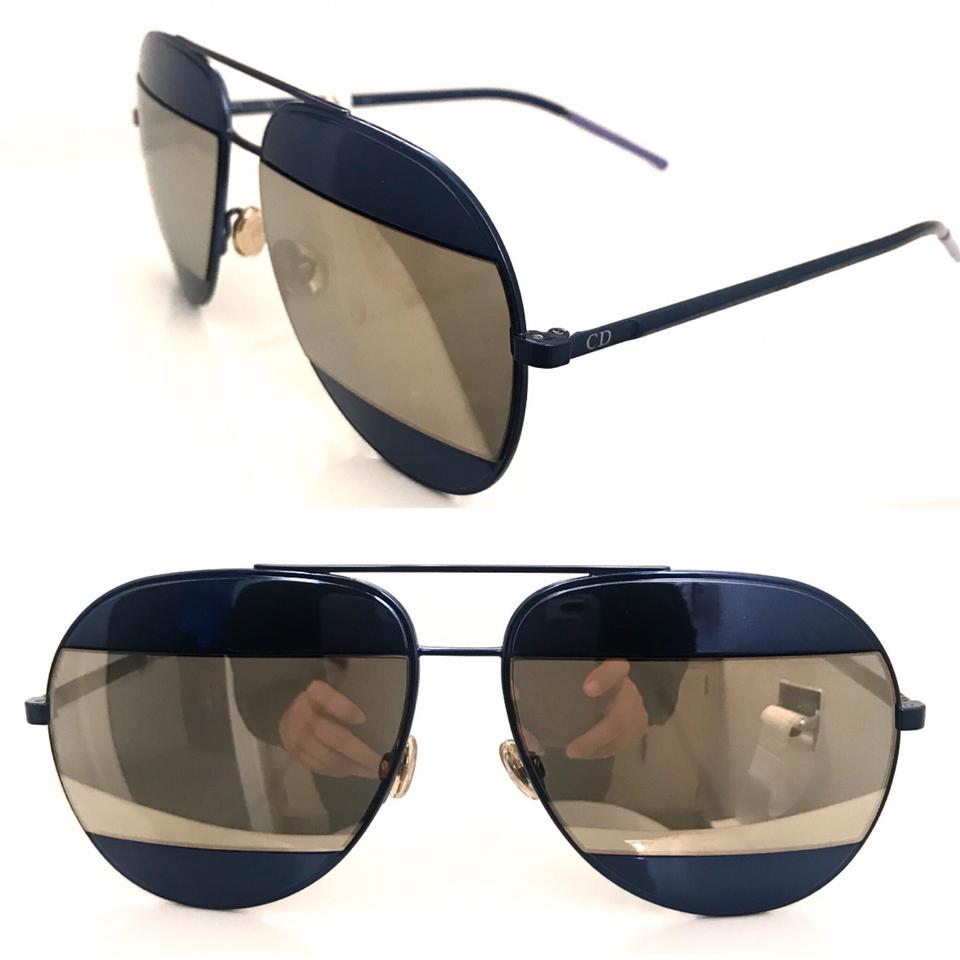 26d5d40c8307 Dior Dark Blue Brown Split Aviator Sunglasses - Tradesy