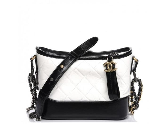 Item - Gabrielle Aged Calfskin Quilted Small Black/White Leather Hobo Bag