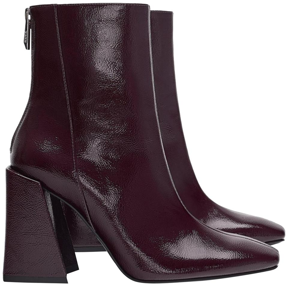 80f1c117381 Zara Burgundy Heeled Patent Leather Boots/Booties Size US 7.5 ...