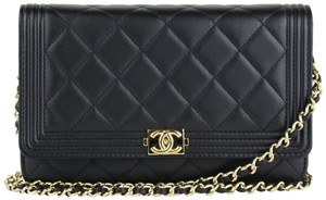 Chanel Wallet on Chain Boy Pink Lambskin Black Calfskin Cross Body ... df7ec6c38bc5