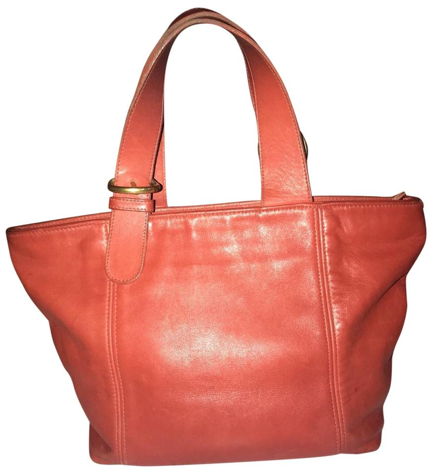 73744106a72f8 Coach Vintage 4133 Top Zip Persimmon Leather Tote - Tradesy