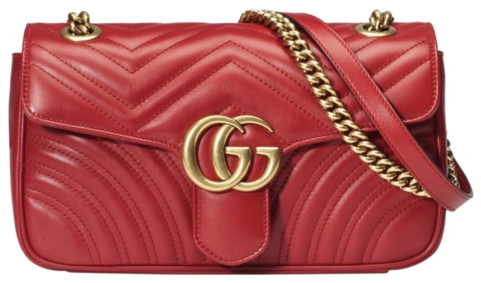 14b76357c07 Gucci Marmont Gg Small Matelasse  Red Leather Shoulder Bag - Tradesy