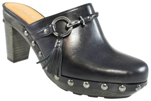 Coach Leather Studded Tassels Black Mules