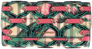 Burberry Multi-color Aqua/Pink Floral Haymarket Check Studded Leather Wallet
