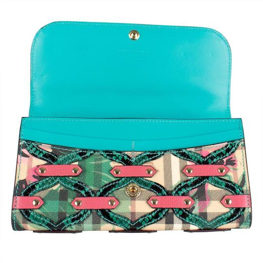 Burberry Multi-color Aqua/Pink Floral Haymarket Check Studded Leather Wallet Image 1