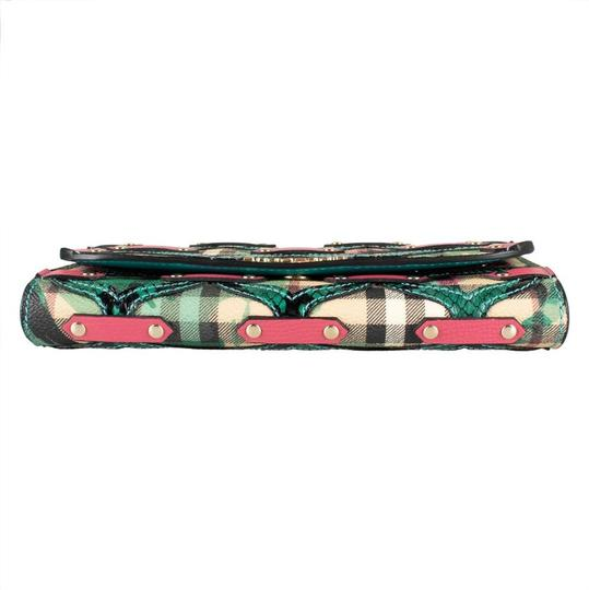Burberry Multi-color Aqua/Pink Floral Haymarket Check Studded Leather Wallet Image 2