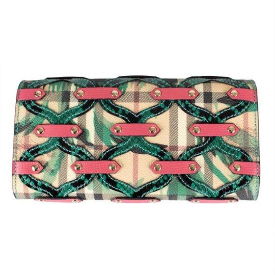 Burberry Multi-color Aqua/Pink Floral Haymarket Check Studded Leather Wallet Image 3