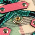 Burberry Multi-color Aqua/Pink Floral Haymarket Check Studded Leather Wallet Image 4
