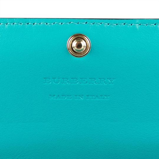 Burberry Multi-color Aqua/Pink Floral Haymarket Check Studded Leather Wallet Image 5