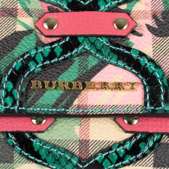 Burberry Multi-color Aqua/Pink Floral Haymarket Check Studded Leather Wallet Image 6