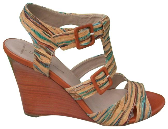 Donald J. Pliner Multi Color Couture Hand Painted Cork New Strappy Signature Wedges Size US 7 Regular (M, B) Donald J. Pliner Multi Color Couture Hand Painted Cork New Strappy Signature Wedges Size US 7 Regular (M, B) Image 1
