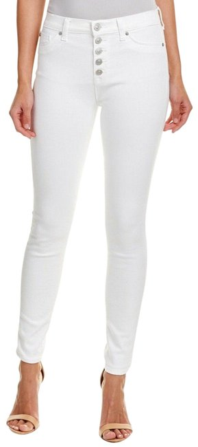 Item - White Medium Wash Ciara High-rise Ankle Cut Exposed Button Skinny Jeans Size 27 (4, S)
