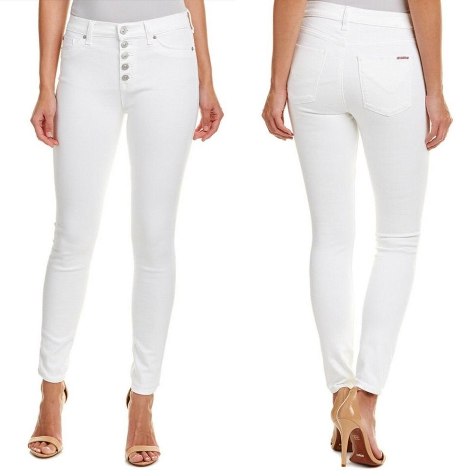 f53400d7c08 Hudson White Medium Wash Ciara High-rise Ankle Cut Exposed Button Skinny  Jeans