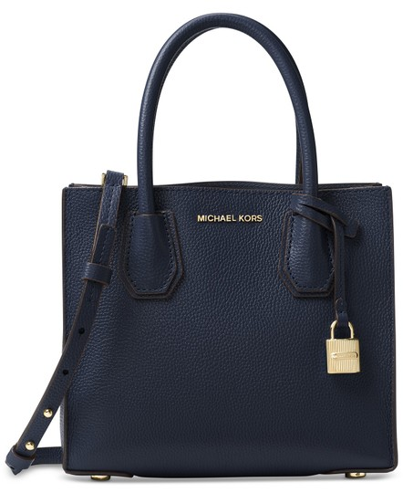 Michael Kors Leather New Satchel in Navy Image 2