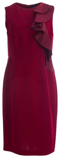 Item - Ruby Ogetti Ruffle Front Sheath Mid-length Cocktail Dress Size 16 (XL, Plus 0x)