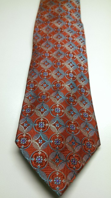 Item - Red Multi-color Men's Grey Blue Geometric Circle Bold Silk Woven Tie/Bowtie