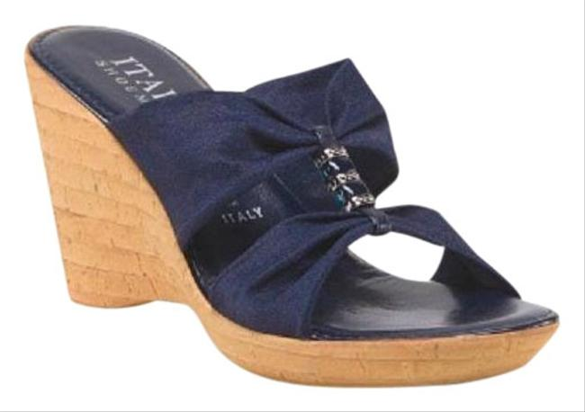 Italian Shoemakers Navy Blue W Stretch Crepe Prima W/ Bead & Jewel Wedges Size US 8 Regular (M, B) Italian Shoemakers Navy Blue W Stretch Crepe Prima W/ Bead & Jewel Wedges Size US 8 Regular (M, B) Image 1