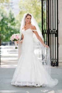 Marionat Long Stunning Cathedral Style with Beaded Pearl Edge Bridal Veil